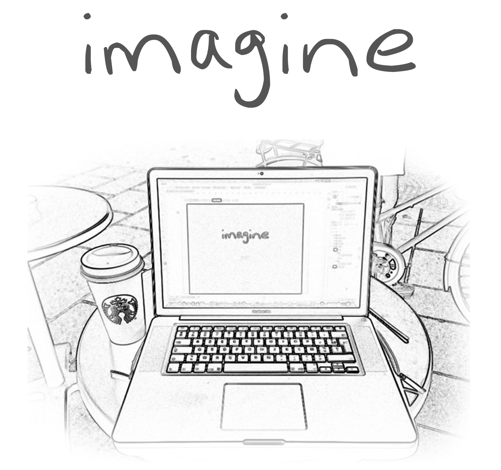 imagine + dessin imagine ordinateur café